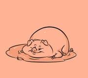 Desenhos animados engraçados da poça do porco Fotos de Stock