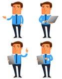 Ilustração engraçada dos desenhos animados de um homem de negócio novo Fotos de Stock