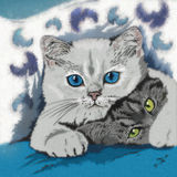 Ilustração engraçada dos gatinhos Foto de Stock Royalty Free
