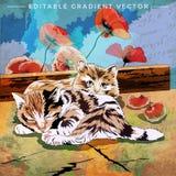 Ilustração engraçada dos gatinhos Imagens de Stock Royalty Free