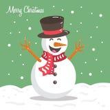 Ilustração engraçada feliz do personagem de banda desenhada do Natal do inverno do boneco de neve Imagem de Stock Royalty Free