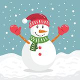 Ilustração engraçada feliz do personagem de banda desenhada do Natal do inverno do boneco de neve Fotos de Stock Royalty Free