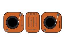 Ilustração esboçada plano das plataformas giratórias do DJ Plataforma giratória alaranjada do vinil Desenho liso do vetor do esti ilustração do vetor
