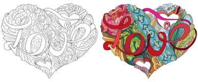 Ilustração esboçado do coração da garatuja com palavra AMOR ilustração royalty free
