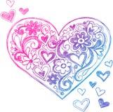 Ilustração esboçado do coração do Doodle Imagens de Stock Royalty Free