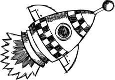 Ilustração esboçado do vetor de Rocket Fotografia de Stock