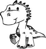 Ilustração esboçado do vetor do dinossauro ilustração stock