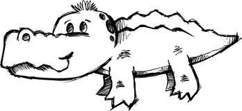 Ilustração esboçado do vetor do jacaré Imagem de Stock