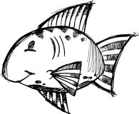 Ilustração esboçado do vetor dos peixes Imagens de Stock