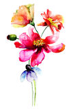 Ilustração estilizado da aquarela das flores Fotografia de Stock Royalty Free