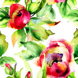 Ilustração estilizado das flores das rosas Fotografia de Stock