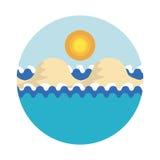 Ilustração estilizado do vetor do mar com ondas, com islan arenoso ilustração stock