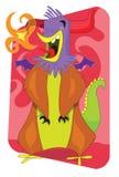 Ilustração estrangeira flamejante dos desenhos animados do galo do monstro Imagens de Stock