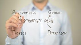 Ilustração estratégica do plano, escrita do homem na tela transparente Foto de Stock Royalty Free