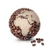 A ilustração Europa e África do mundo 3D do café traça Fotografia de Stock