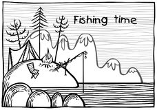 Ilustração exterior da pesca Imagens de Stock