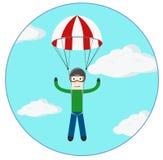 Ilustração extrema do vetor do esporte do paraquedas do homem Fotografia de Stock Royalty Free