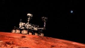 Ilustração extremamente detalhada e realística da alta resolução 3D um veículo da exploração do espaço em Marte Disparado do espa Foto de Stock