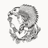 Ilustração fêmea do vetor da águia do nativo americano ilustração royalty free