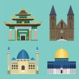 Ilustração famosa do vetor do turismo do marco da construção tradicional do templo da igreja da catedral Foto de Stock Royalty Free