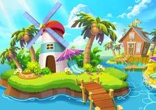 Ilustração: Farol pequeno Farol, luz do sol, vento, ilhas, mar, ponte