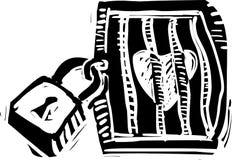 Ilustração fechado do coração no estilo do grunge Fotografia de Stock