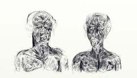 Ilustração feita com o nankin que indica o busto de dois homens de lado a lado ilustração royalty free