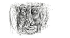 Ilustração feita do desenho digital que mostra o detalhe da cara de um homem afligido, aturdido, surpreendido Minimalista e delic ilustração stock