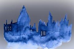 Ilustração feito a mão de um castelo escuro Fotografia de Stock Royalty Free