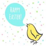 Ilustração feliz da Páscoa com pintainho e cumprimento Imagem de Stock Royalty Free