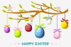 Ilustração feliz da Páscoa dos desenhos animados, ovos de suspensão do cartão em um ramo de árvore Imagens de Stock Royalty Free
