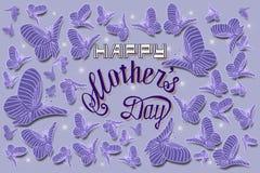 Ilustração feliz do cartão de rotulação da mão do dia de mães ilustração royalty free