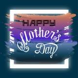 Ilustração feliz do cartão de rotulação da mão do dia de mães ilustração do vetor