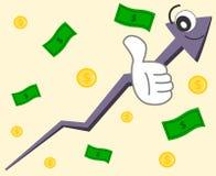 Ilustração feliz do conceito do gráfico da seta dos desenhos animados Fotografia de Stock Royalty Free