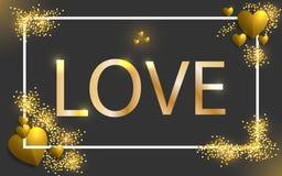 Ilustração feliz do dia do ` s do Valentim Textura dourada do sumário do amor e coração dourado conceito de brilho do vintage Eps ilustração stock