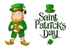 Ilustração feliz do dia do St Patricks do duende com a rotulação isolada ilustração royalty free