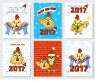 Ilustração feliz do galo de China do ano novo do galo Elemento do vetor para o projeto dos anos novos Imagem de Stock