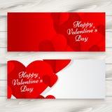 Ilustração feliz do projeto do vetor das bandeiras do amor do dia de Valentim Fotos de Stock