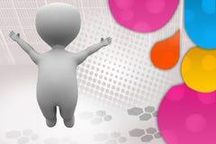ilustração feliz do salto do homem 3d Imagens de Stock Royalty Free