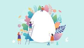 Ilustração feliz do vetor da Páscoa, povos diminutos, famílias e ovo gigante Cartões, cartaz, bandeira ilustração do vetor