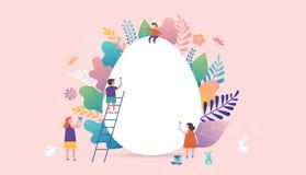 Ilustração feliz do vetor da Páscoa, povos diminutos, famílias e ovo gigante Cartões, cartaz, bandeira ilustração stock
