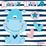 Ilustração feliz do vetor do hipopótamo ilustração royalty free