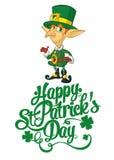 Ilustração feliz do vetor do projeto de rotulação do dia do ` s de St Patrick com duende Fotos de Stock