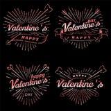 Ilustração feliz do vintage do vetor do dia do Valentim s Grupo de sinais com feixes e setas do sol Os selos etiquetam com raios  ilustração royalty free