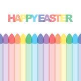 Ilustração feliz dos cartões de easter com ovos coloridos Fotos de Stock Royalty Free