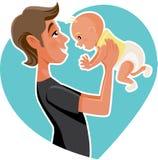 Ilustração feliz dos desenhos animados de Holding His Baby do pai ilustração royalty free