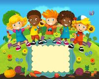 O grupo de miúdos prées-escolar felizes - ilustração colorida para as crianças Imagem de Stock