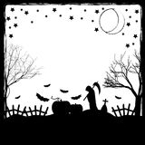 Ilustração festiva no tema de Dia das Bruxas Desejos para Dia das Bruxas feliz Truque ou deleite Fotografia de Stock