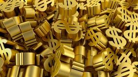 Ilustração financeira da economia 3D da moeda de ouro do sinal de dólar das economias ilustração stock