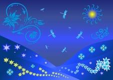 Ilustração floral abstrata com libélulas Imagem de Stock